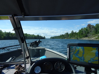 Cruising Barney's Narrows in covered 19' boats