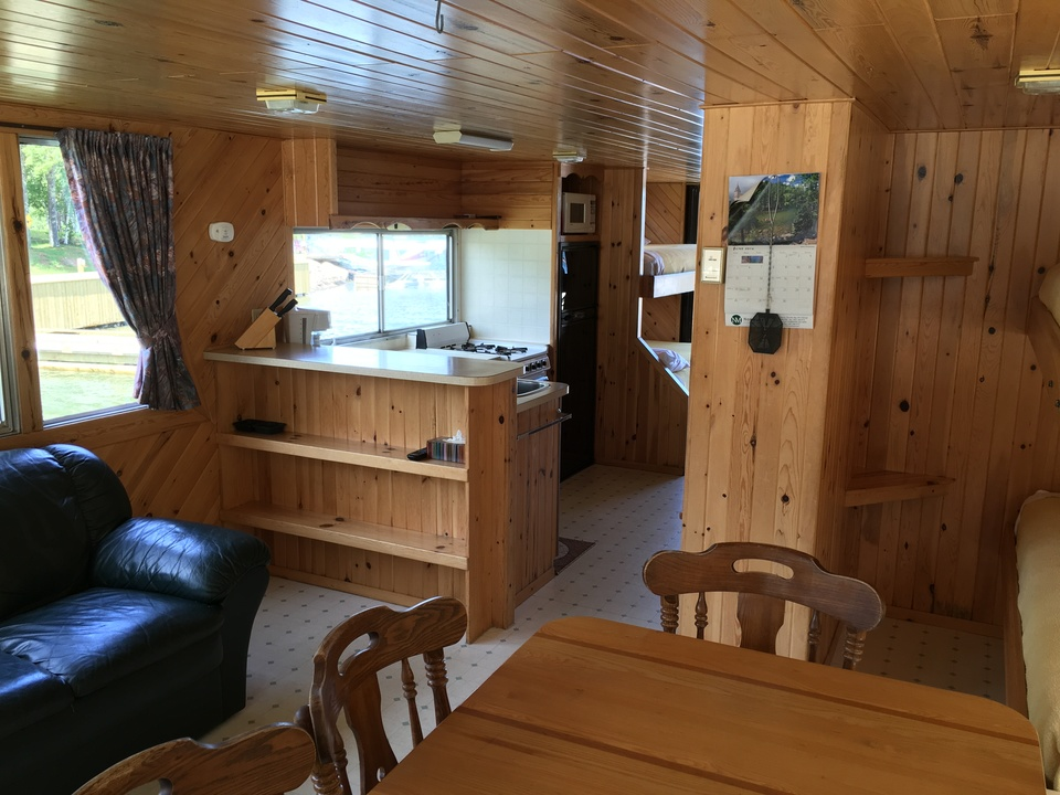 Houseboat layout looking toward the galley