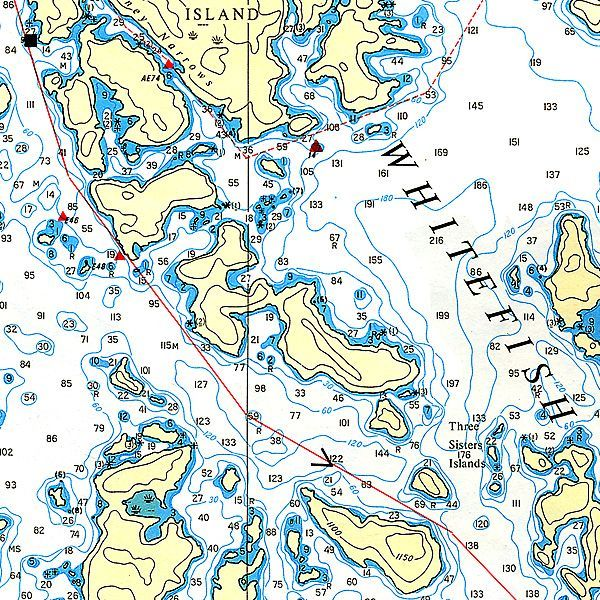 Barney Narrows And Three Sisters Map Lake Of The Woods